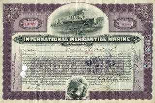 International Mercantile Marine Co.  5 Preferred Share Certif.  (titanic Owners) photo