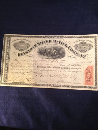 Antique Keystone Silver Mining Company Stock Certificate At Austin Nevada 1867 photo