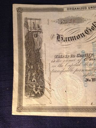 Antique Harmon Gold And Silver Mining Stock Certificate York 1866 photo