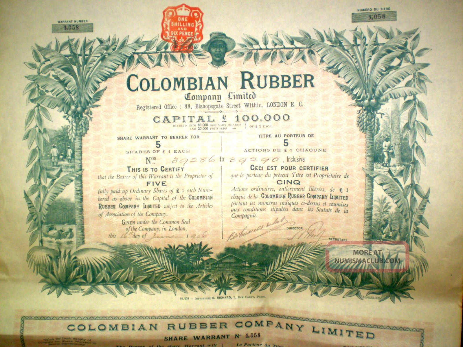 Colombian Rubber Share Certificate 1906 World photo