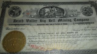 1900 ' S 645 Death Valley Big Bell Mining Company - Rare Stock Certificate - Seal photo