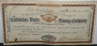 1880 ' S Certificate For 300 Shares In The Calavaras Water & Mining Co.  - Issued photo