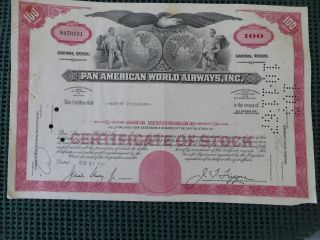 Pan American World Airways,  Inc Stock Certificate York 100 Shares photo