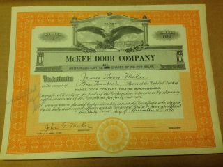 Mckee Door Company Stock Certificate,  Aurora,  Il,  Issued 1930,  First Issue photo