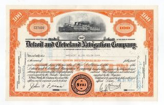 Detroit And Cleveland Navigation Company Stock Certificate photo