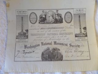 Rare Washington National Monument Society Certificate Undated 1840s photo