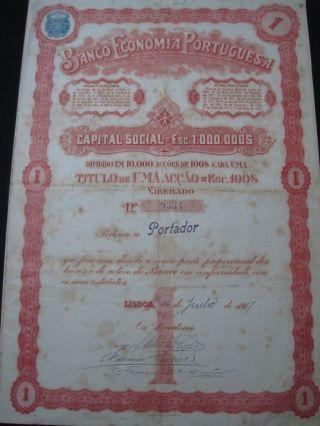 Banco Economia Portuguesa - One Share - 1917 Portugal photo