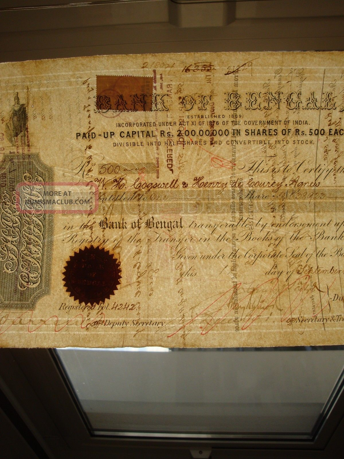 India 1876 Bank Of Bengal Share Certificate World photo
