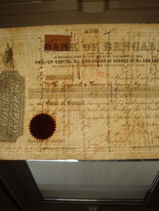 India 1876 Bank Of Bengal Share Certificate photo