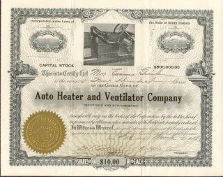 1918 Auto Heater & Ventilator Company South Dakota Stock Certificate 500 Share A photo