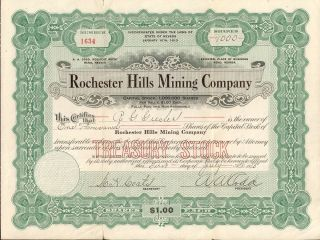 1915 Rochester Hills Mining Company Reno Nv Signed A.  A.  Codd Stock Certificate A photo