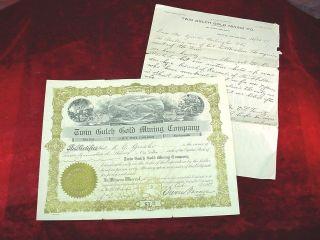 1917 Twin Gulch Gold Mining Company Stock Certificate Seattle Wa 500 Shares