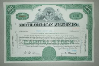 1965 North American Aviation Inc Old Authentic Stock Certificate photo