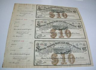 1880 ' S Specie Paying Gold & Silver Mining Co Arizona Stock Certificate Unissued photo