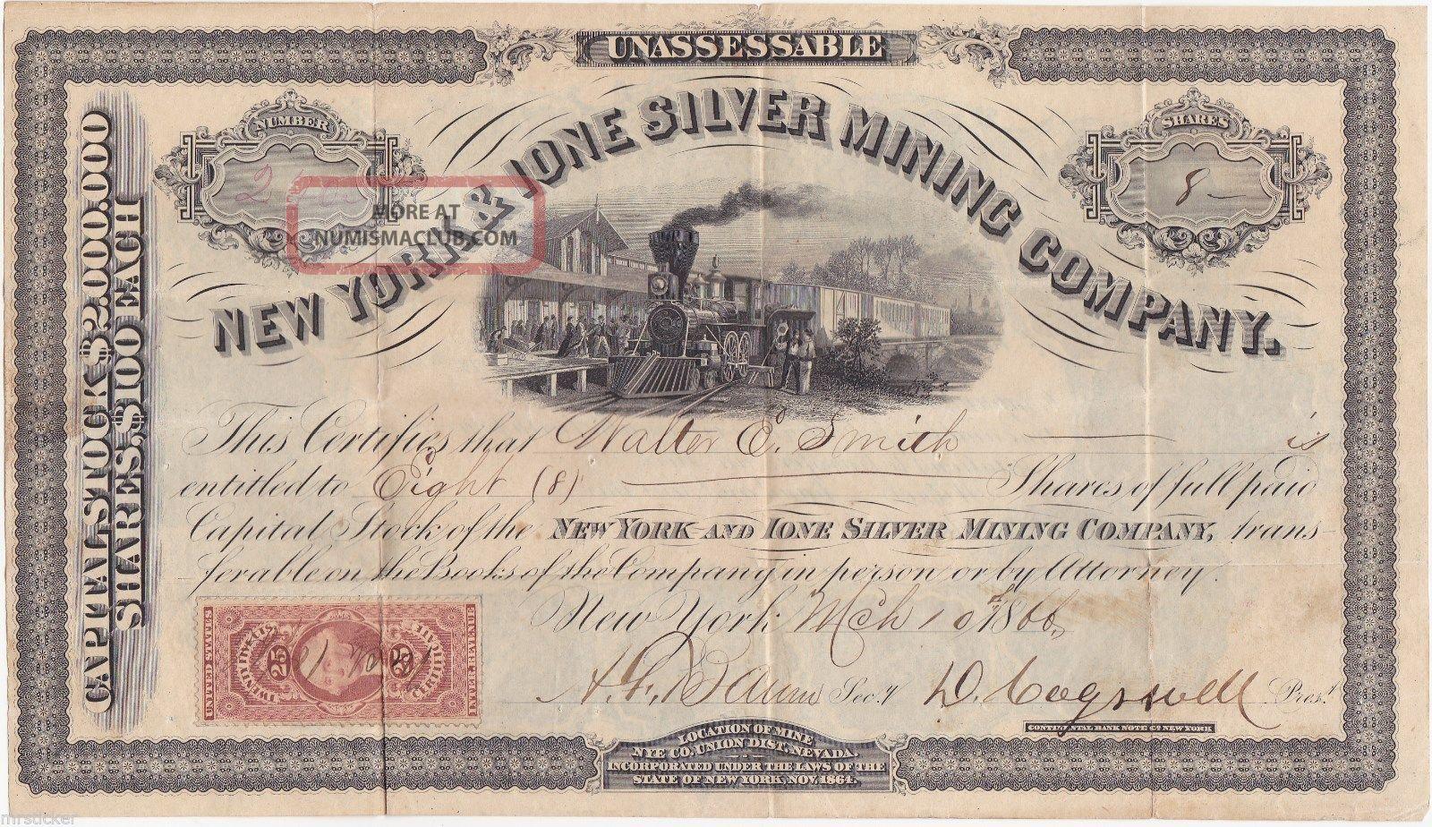 York & Ione Silver Mining Company Stock Certificate. Stocks & Bonds, Scripophily photo