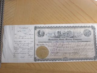 Manhattan Giant Mining Company. ,  Stock Certificate,  500 Shares 1906 photo