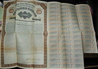 1881 30 Year Debenture Bond $1,  000 At 6 The Calaveras Water & Mining Co. photo