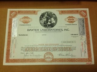 Baxter Laboratories Inc.  Stock Certificate,  Chicago,  Issued 1971 photo