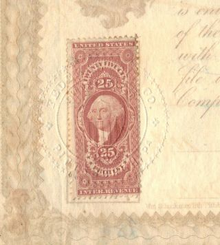 U.  S.  Scott R49 Red 25 Cent Protest Revenue Stamp On 1865 Federal Oil Stock Cert. photo