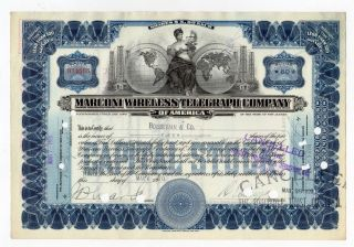 Marconi Wireless Telegraph Company Of America Stock Certificate photo