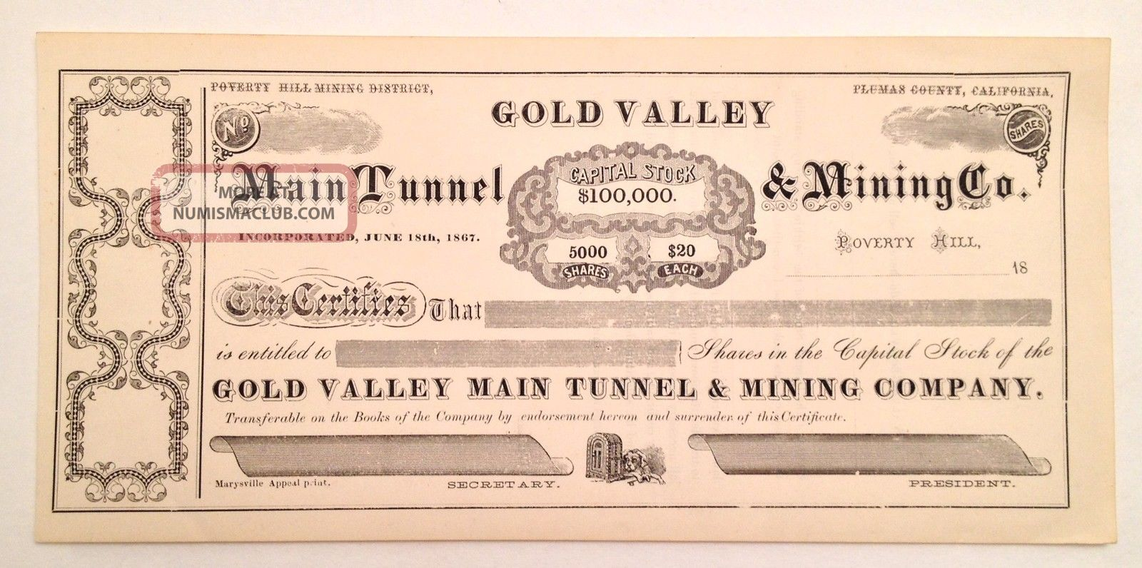 1800s - Gold Valley Main Tunnel & Mining Co.  Stock Certificate - Unissued Stocks & Bonds, Scripophily photo