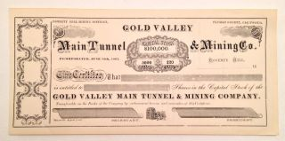 1800s - Gold Valley Main Tunnel & Mining Co.  Stock Certificate - Unissued photo