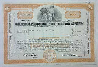 Columbus & Southern Ohio Electric Co 1972 Share Certificate 100 Shares Orange photo