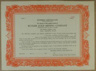 S1083 Butler Gold Mining Co Nevada Interim Certificate Orange Unissued photo