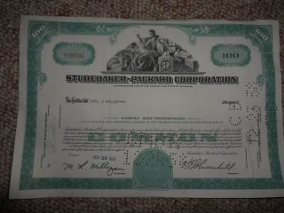 1958 Studebaker Packard Corp Automobile Car Stock Certificate 100 Share Green photo