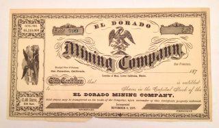 1870s El Dorado Mining Company Stock Certificate - Lower California - Unissued photo