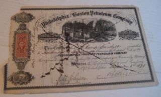 Philadelphia & Boston Petroleum Co Stock Certificate 1841 With Cert Stamp photo