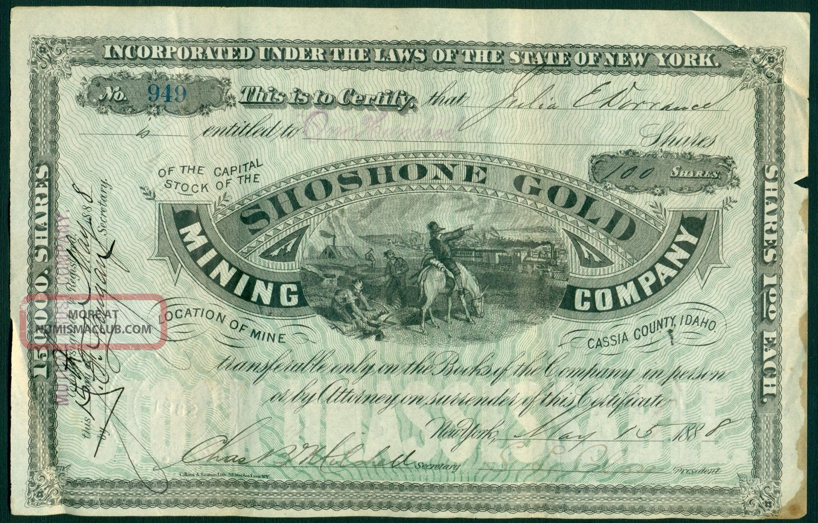 1888 Shoshone Gold Mining Company,  Cassia County,  Idaho.  100 Shares. Stocks & Bonds, Scripophily photo