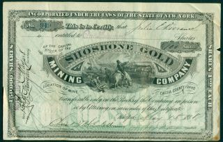 1888 Shoshone Gold Mining Company,  Cassia County,  Idaho.  100 Shares. photo