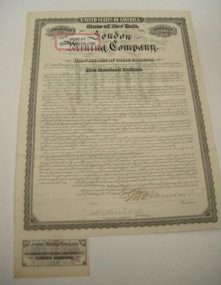 1882 London Mining Company $500 Gold Bond Panic Of 1884 Fish Stocks & Bonds, Scripophily photo