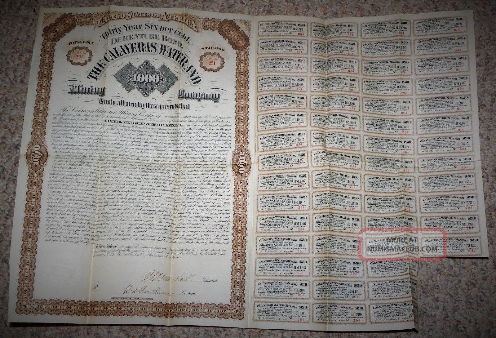 1880 ' S 30 Year Debenture Bond $300,  000 At 6 The Calaveras Water & Mining Co. Stocks & Bonds, Scripophily photo
