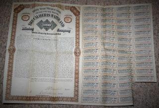 1880 ' S 30 Year Debenture Bond $300,  000 At 6 The Calaveras Water & Mining Co. photo
