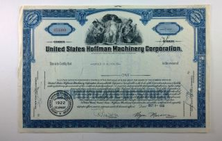 United States Hoffman Machinery Corporation,  Stock Certificate,  Delaware photo