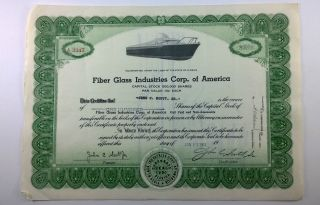 Fiber Glass Industries Corp.  Of America,  Stock Certificate,  Florida,  Boating photo