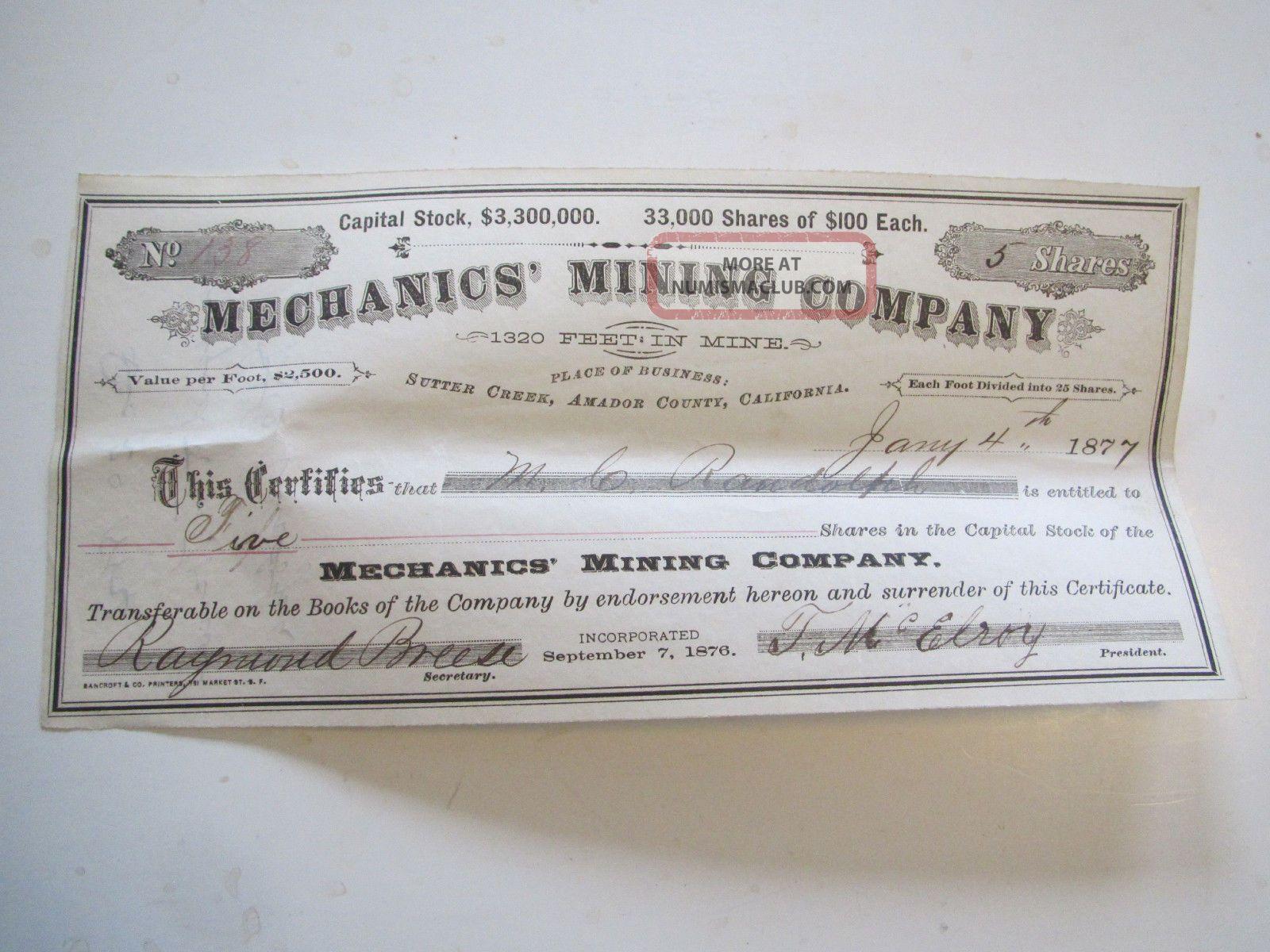 Mechanics Mining Co Sutter Creek Ca Five Shares Stock Certificate 1877 Stocks & Bonds, Scripophily photo