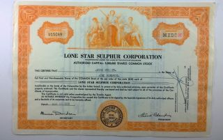 Lone Star Sulphur Corporation,  100 Shares,  Stock Certificate,  Delaware photo
