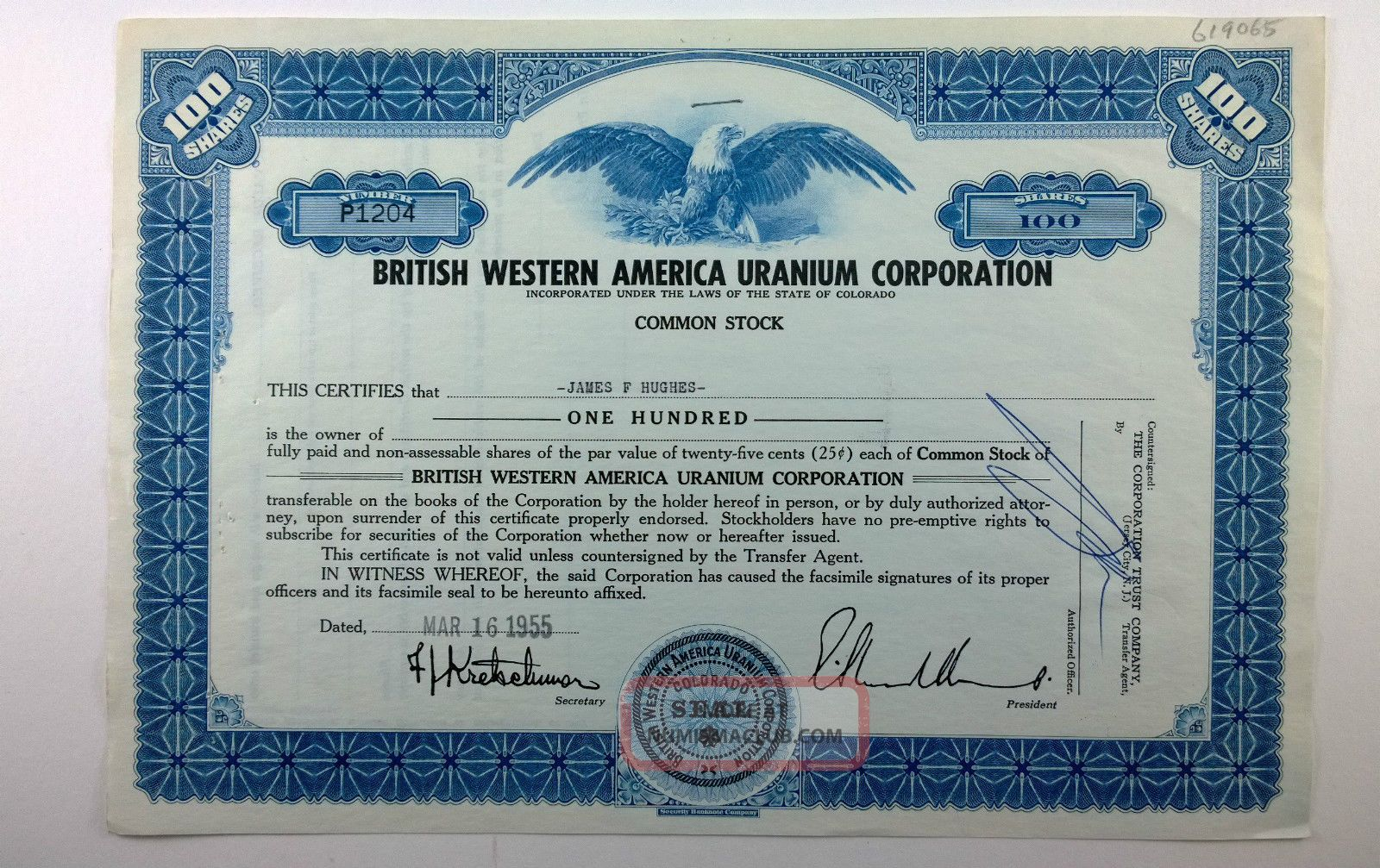 British Western America Uranium Corporation,  Stock Certificate,  Colorado Stocks & Bonds, Scripophily photo
