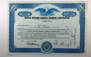 British Western America Uranium Corporation,  Stock Certificate,  Colorado photo