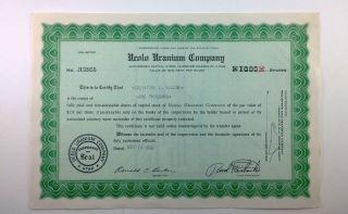 Ucolo Uranium Company,  1000 Shares,  Stock Certificate,  Utah photo