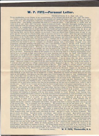 1904 The Great Western Gold Company Offer To Sell Gold From Thomasville Nc photo