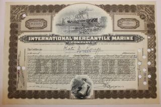 1929 International Mercantile Marine Co.  Stock Certificate Titanic Type 6 Brown photo