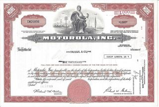 Motorola,  Inc.  Stock Certificate photo