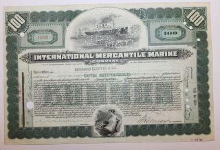 1924 International Mercantile Marine Co.  Stock Certificate Titanic Type 5 Bl Grn photo