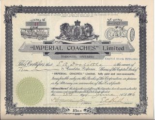 Imperial Coaches Limited Stock Certificate 1906,  Early Buses,  Toronto photo