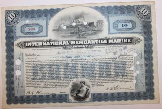 1917 International Mercantile Marine Co.  Stock Certificate Titanic Type 4 Blue photo