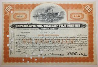 1937 International Mercantile Marine Co.  Stock Certificate Titanic Type 3 Orange photo